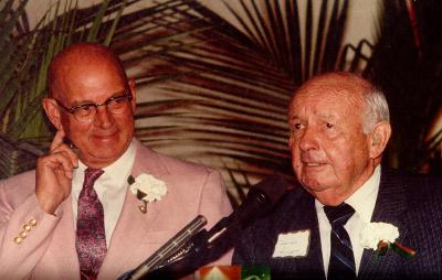 Mr. James W. McLamore (l), trustee, and Mr. James L. Knight (r),  major building donor..